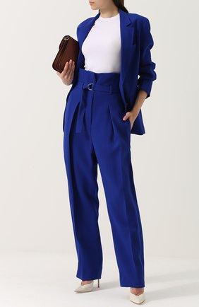 Широкие брюки с защипами и завышенной талией с поясом 3.1 Phillip Lim синие | Фото №1