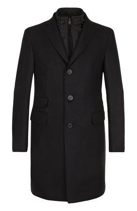 Шерстяное однобортное пальто с подстежкой Pal Zileri черного цвета   Фото №1