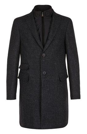 Однобортное пальто из смеси шерсти и шелка со льном с подстежкой   Фото №1