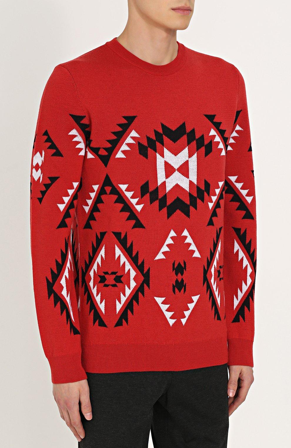 Шерстяной свитер с узором | Фото №3