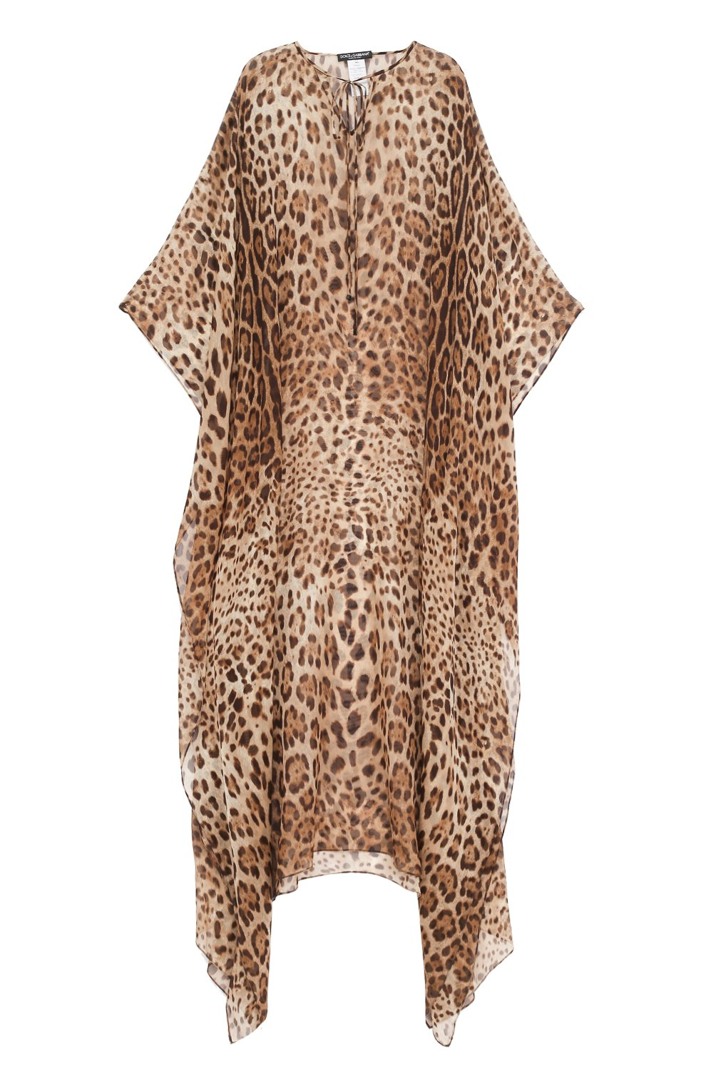 Шелковое платье-макси с леопардовым принтом | Фото №1