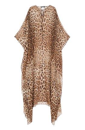 Шелковое платье-макси с леопардовым принтом Dolce & Gabbana леопардовое | Фото №1