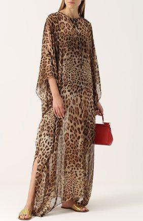 Шелковое платье-макси с леопардовым принтом Dolce & Gabbana леопардовое | Фото №2