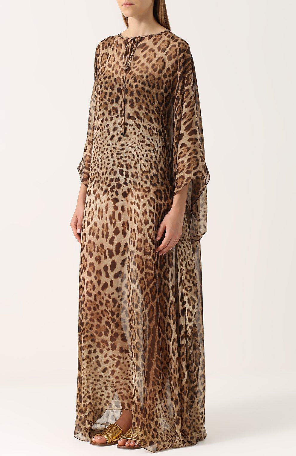 Шелковое платье-макси с леопардовым принтом Dolce & Gabbana леопардовое | Фото №3