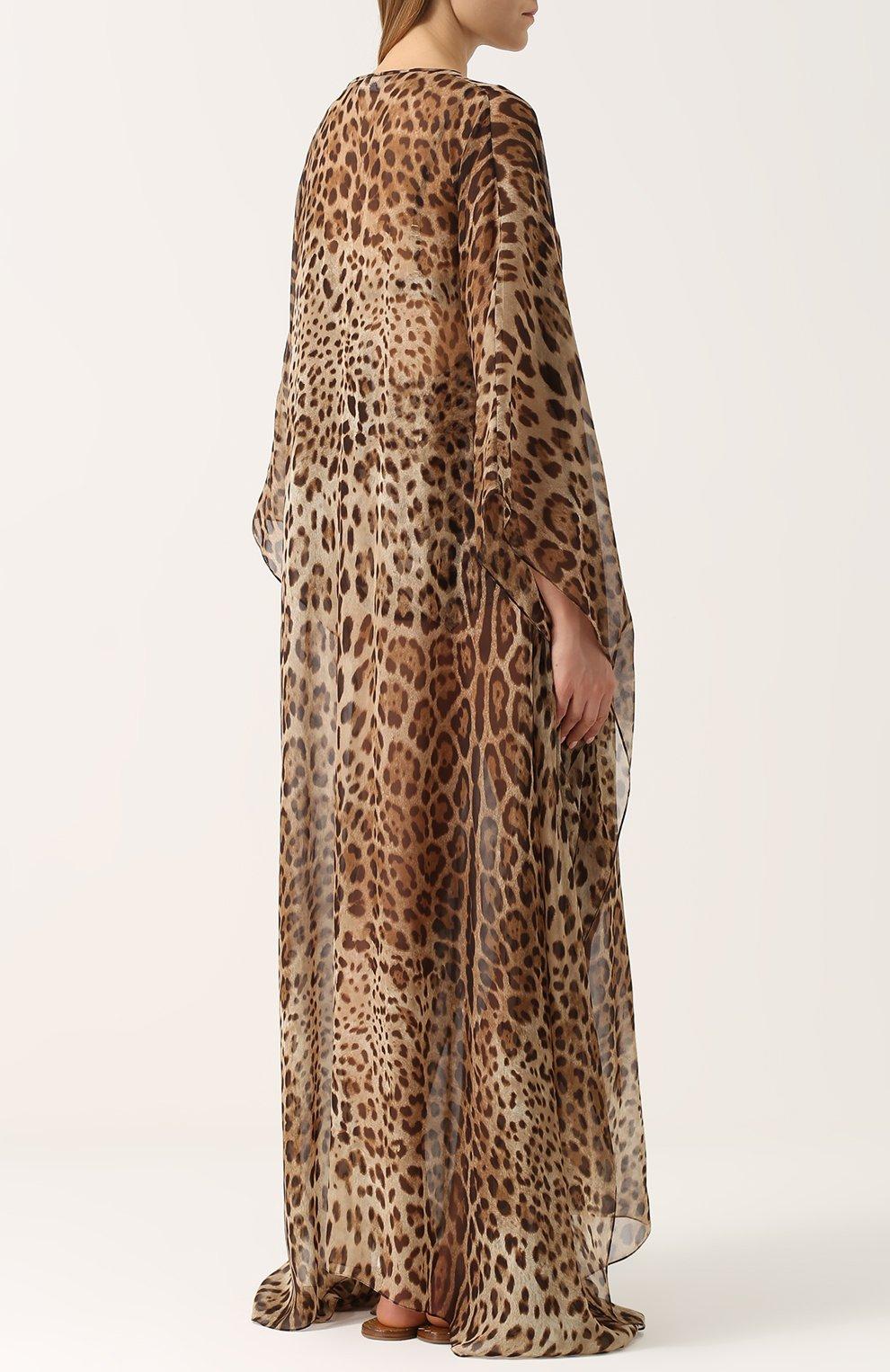 Шелковое платье-макси с леопардовым принтом Dolce & Gabbana леопардовое | Фото №4