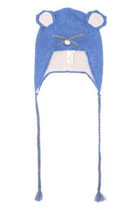 Вязаная шапка с декором Egg By Susan Lazar синего цвета | Фото №1