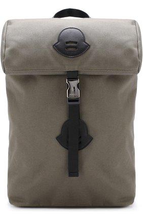 Текстильный рюкзак Moncler Enfant хаки цвета | Фото №1