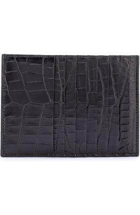 Женский футляр для кредитных карт из крокодиловой кожи BOTTEGA VENETA черного цвета, арт. 162156/V9120 | Фото 1