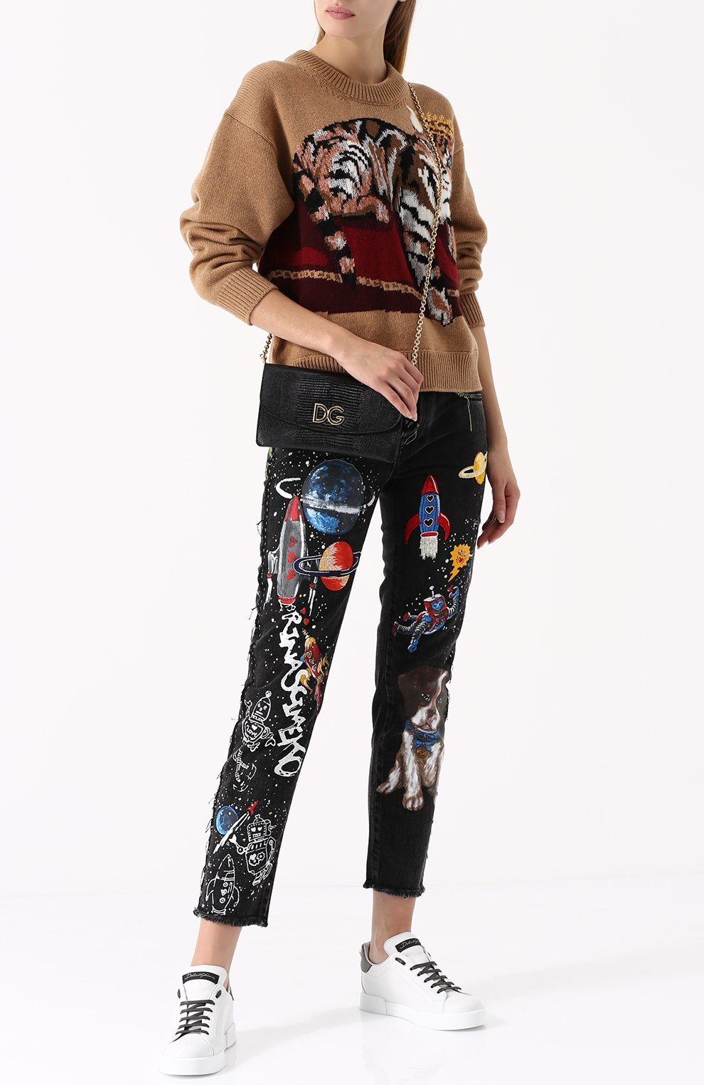 Кашемировый пуловер с принтом Dolce & Gabbana бежевый | Фото №2