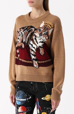 Кашемировый пуловер с принтом Dolce & Gabbana бежевый | Фото №3