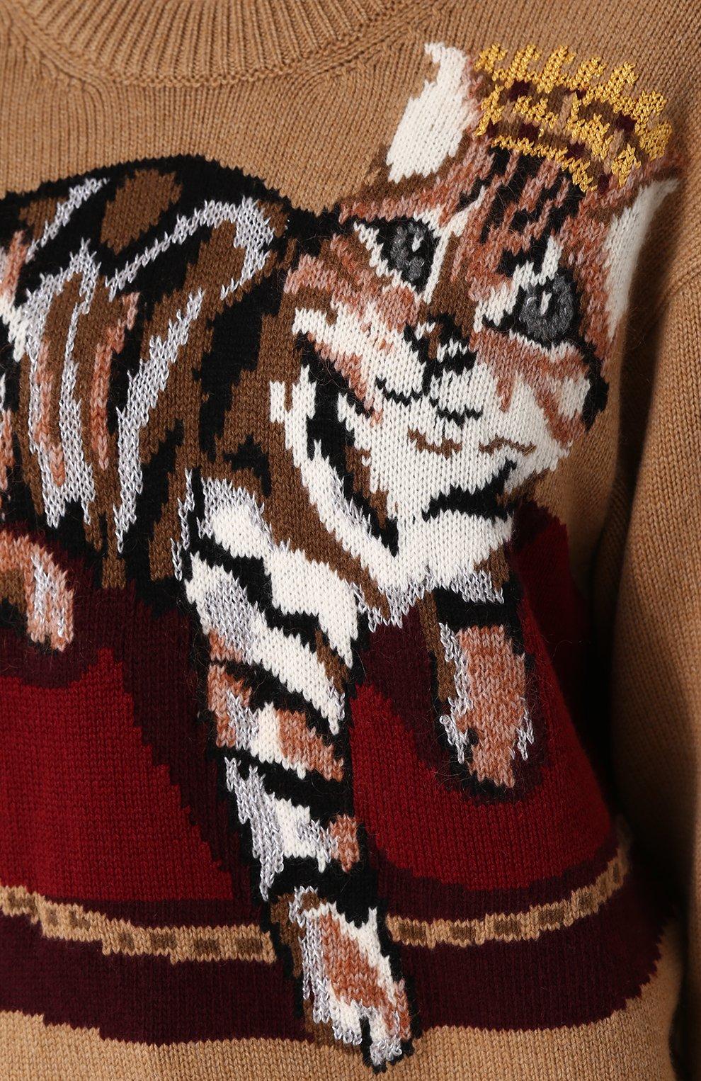 Кашемировый пуловер с принтом Dolce & Gabbana бежевый | Фото №5