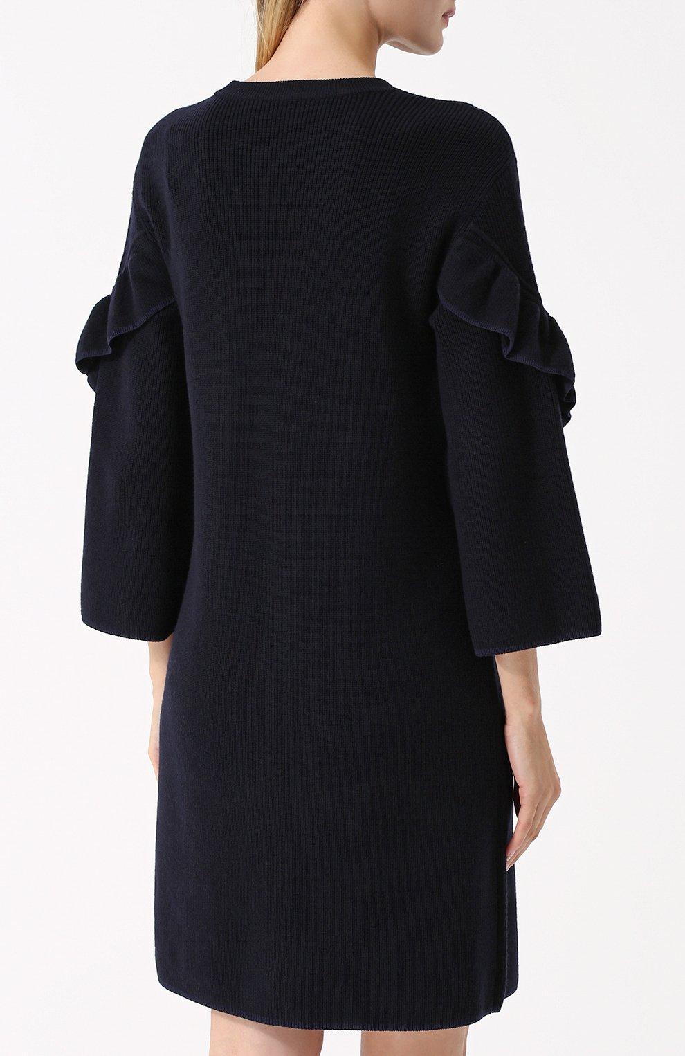 e327a111e16 Женское темно-синее шерстяное платье с длинным рукавом и оборками ...