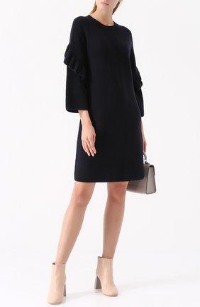Шерстяное платье с длинным рукавом и оборками Tory Burch темно-синее | Фото №1