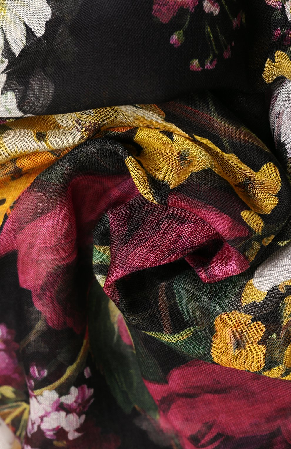 Платок из смеси кашемира и шелка с цветочным принтом Dolce & Gabbana разноцветный | Фото №2
