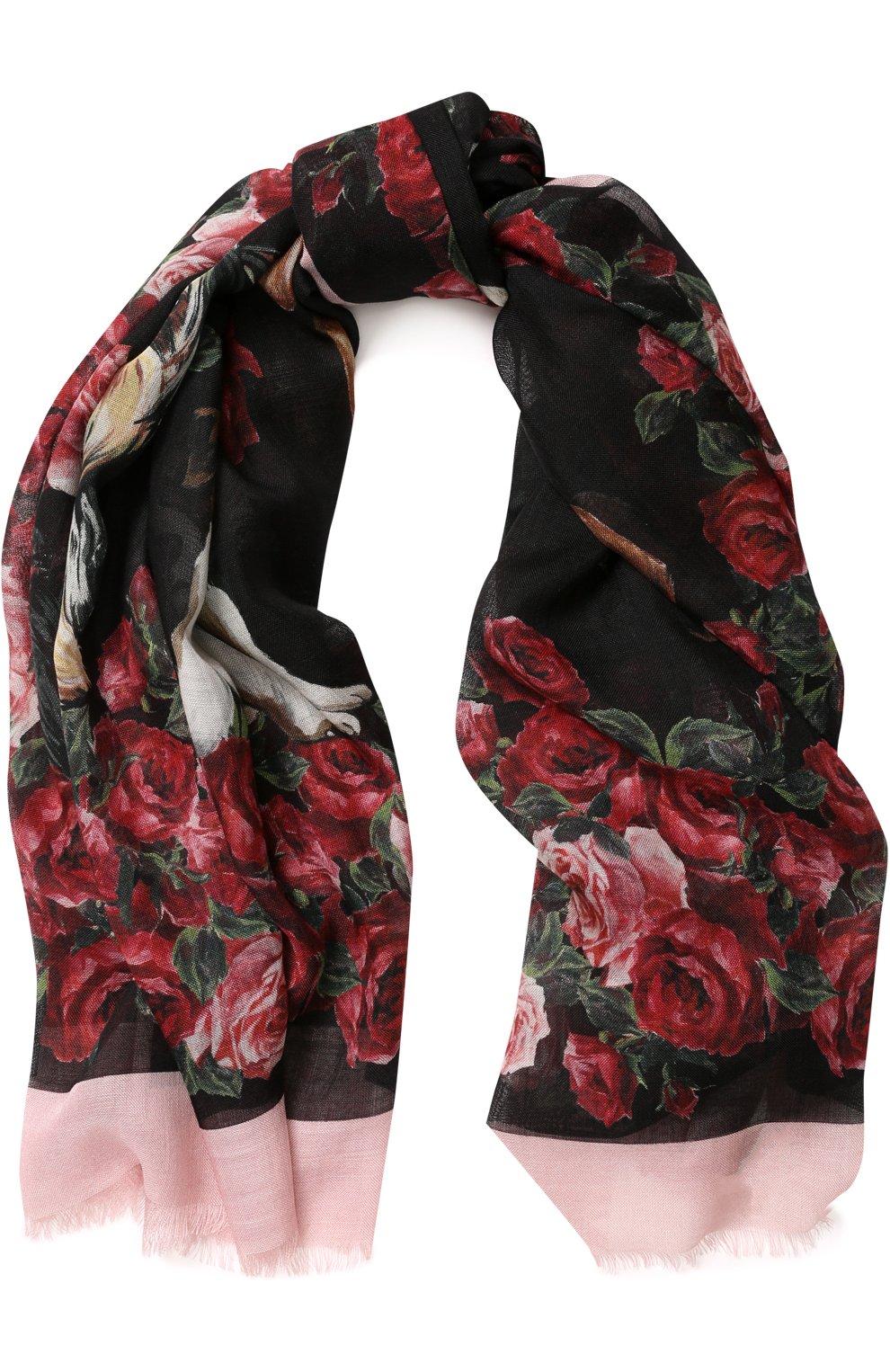 Платок из смеси кашемира и шелка с цветочным принтом | Фото №1