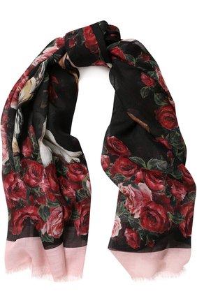 Платок из смеси кашемира и шелка с цветочным принтом Dolce & Gabbana разноцветный | Фото №1