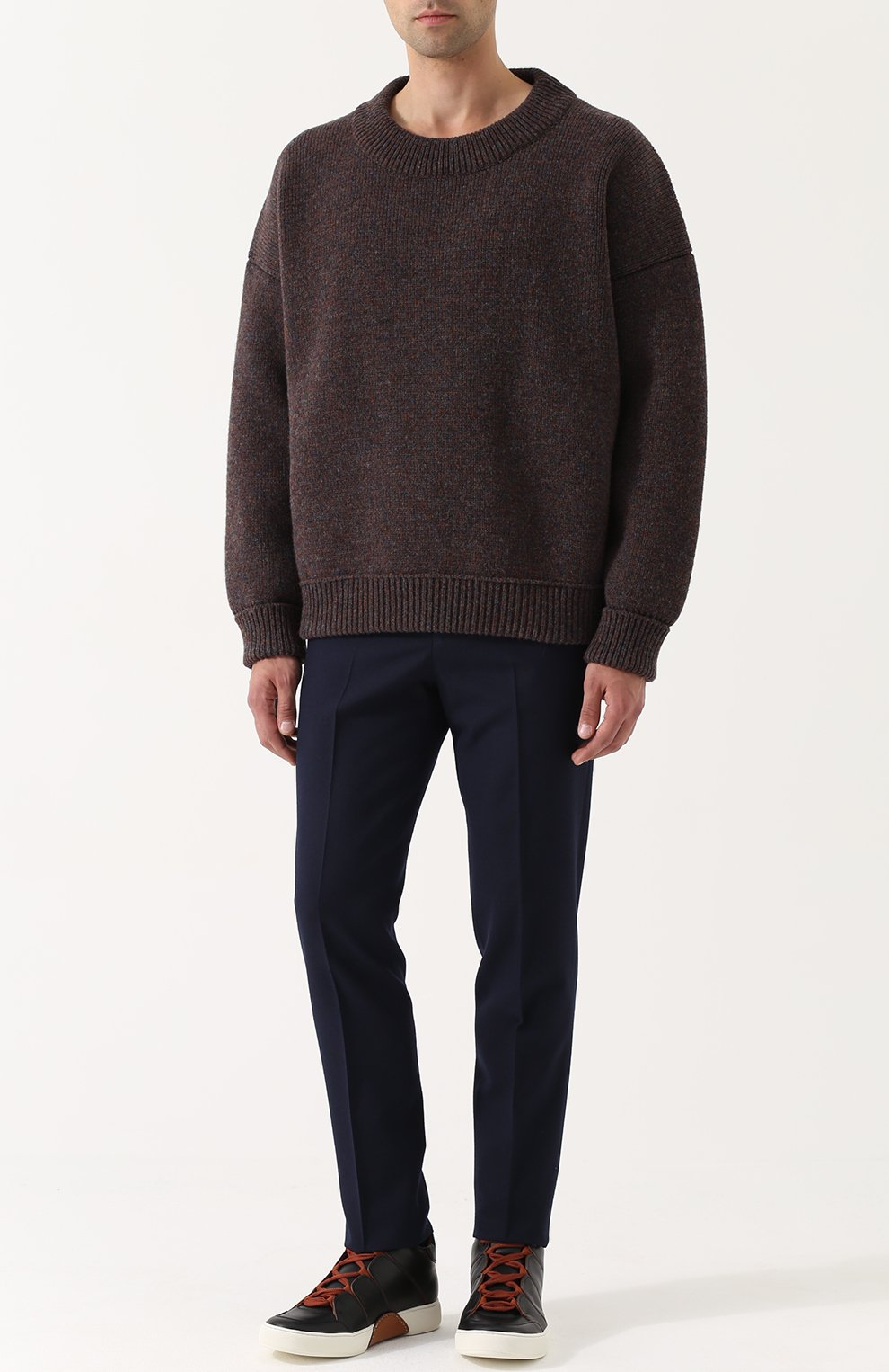 Шерстяной свитер свободного кроя   Фото №2