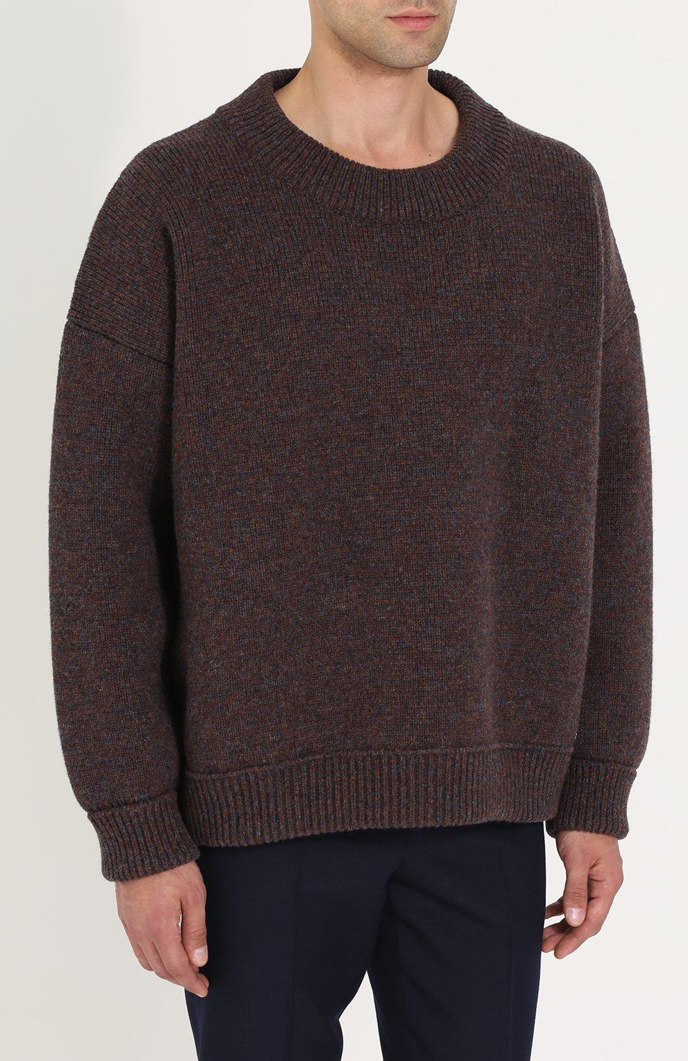 Шерстяной свитер свободного кроя   Фото №3
