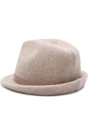 Шляпа из смеси шерсти и кашемира с ремешком Inverni бежевого цвета   Фото №1