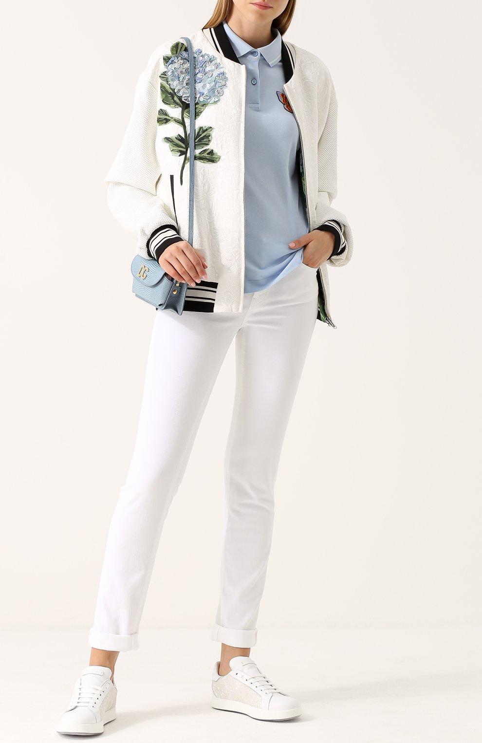Кожаные кеды Portofino с кружевной отделкой Dolce & Gabbana белые | Фото №2