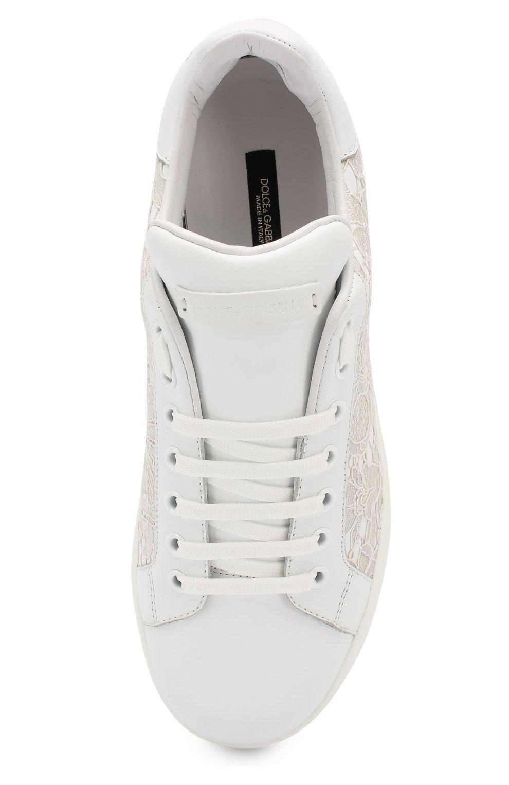 Кожаные кеды Portofino с кружевной отделкой Dolce & Gabbana белые | Фото №5