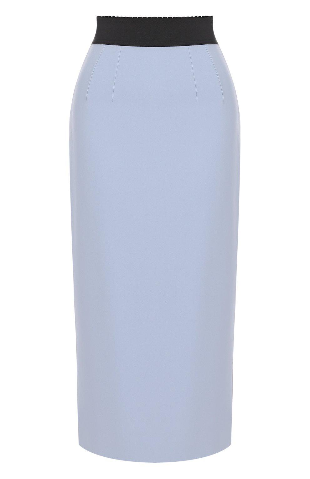 Однотонная юбка-карандаш с контрастным поясом | Фото №1