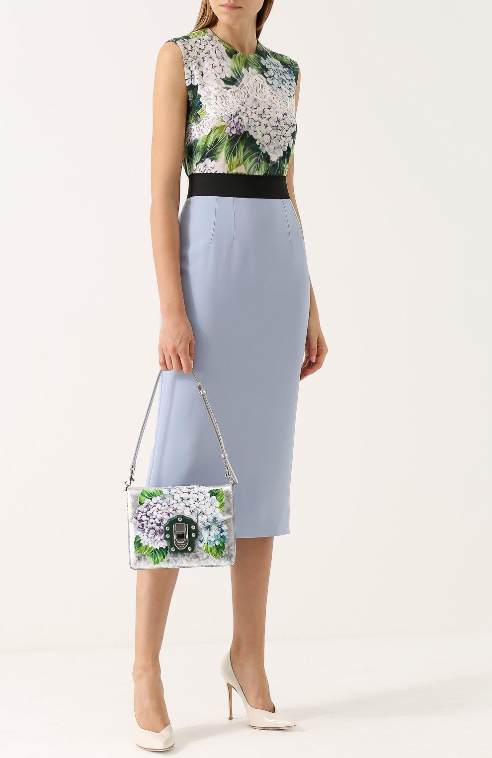 Однотонная юбка-карандаш с контрастным поясом Dolce & Gabbana голубая | Фото №2