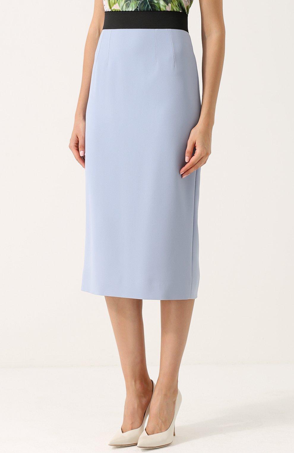 Однотонная юбка-карандаш с контрастным поясом Dolce & Gabbana голубая | Фото №3