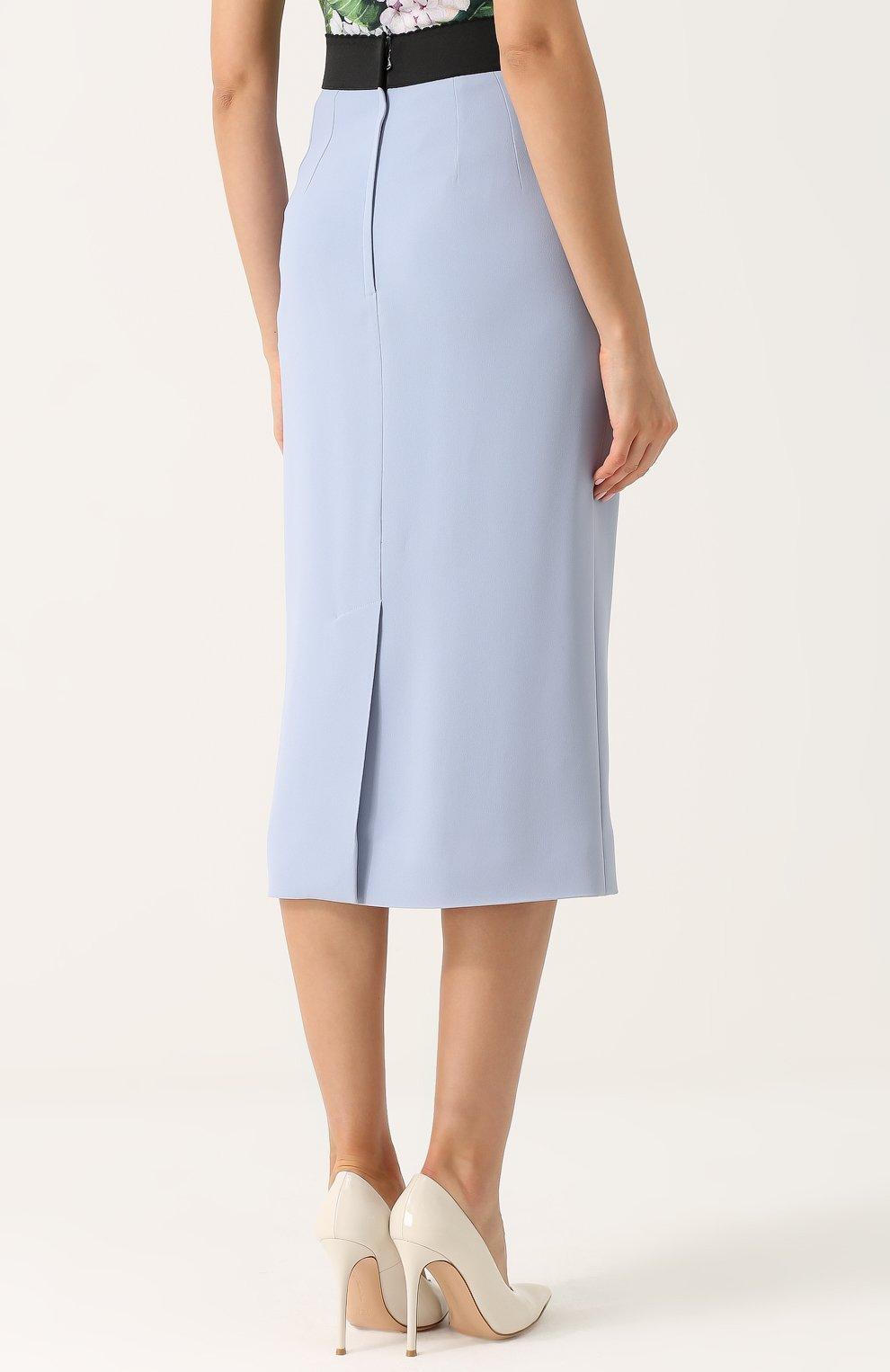 Однотонная юбка-карандаш с контрастным поясом Dolce & Gabbana голубая | Фото №4