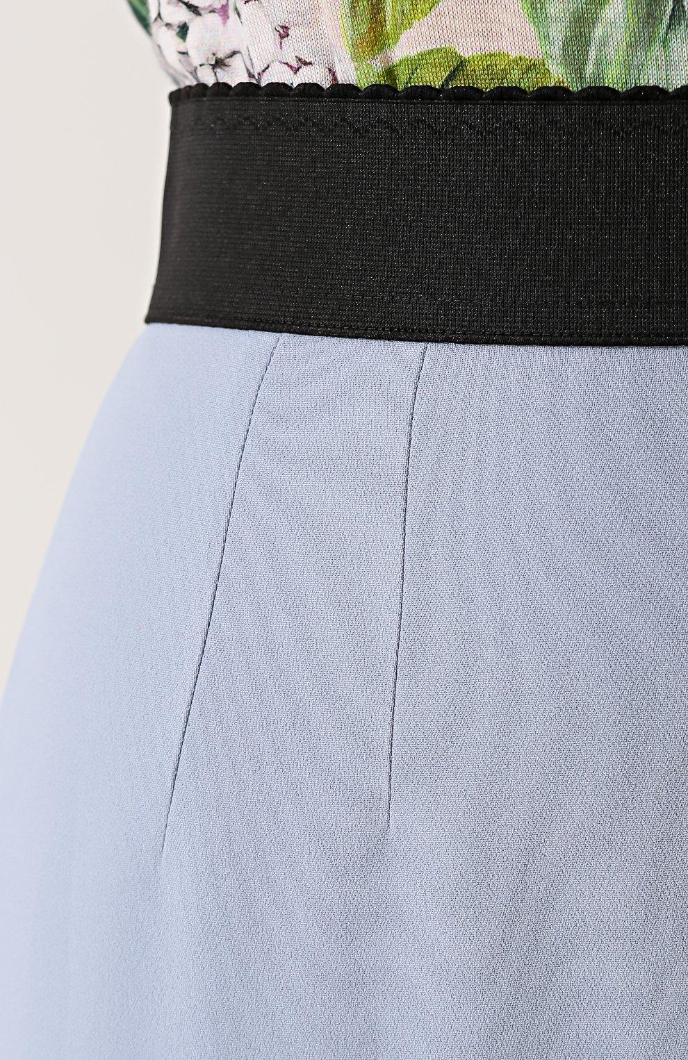 Однотонная юбка-карандаш с контрастным поясом Dolce & Gabbana голубая | Фото №5