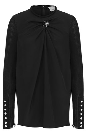 Шелковая блуза с круглым вырезом и драпировкой | Фото №1