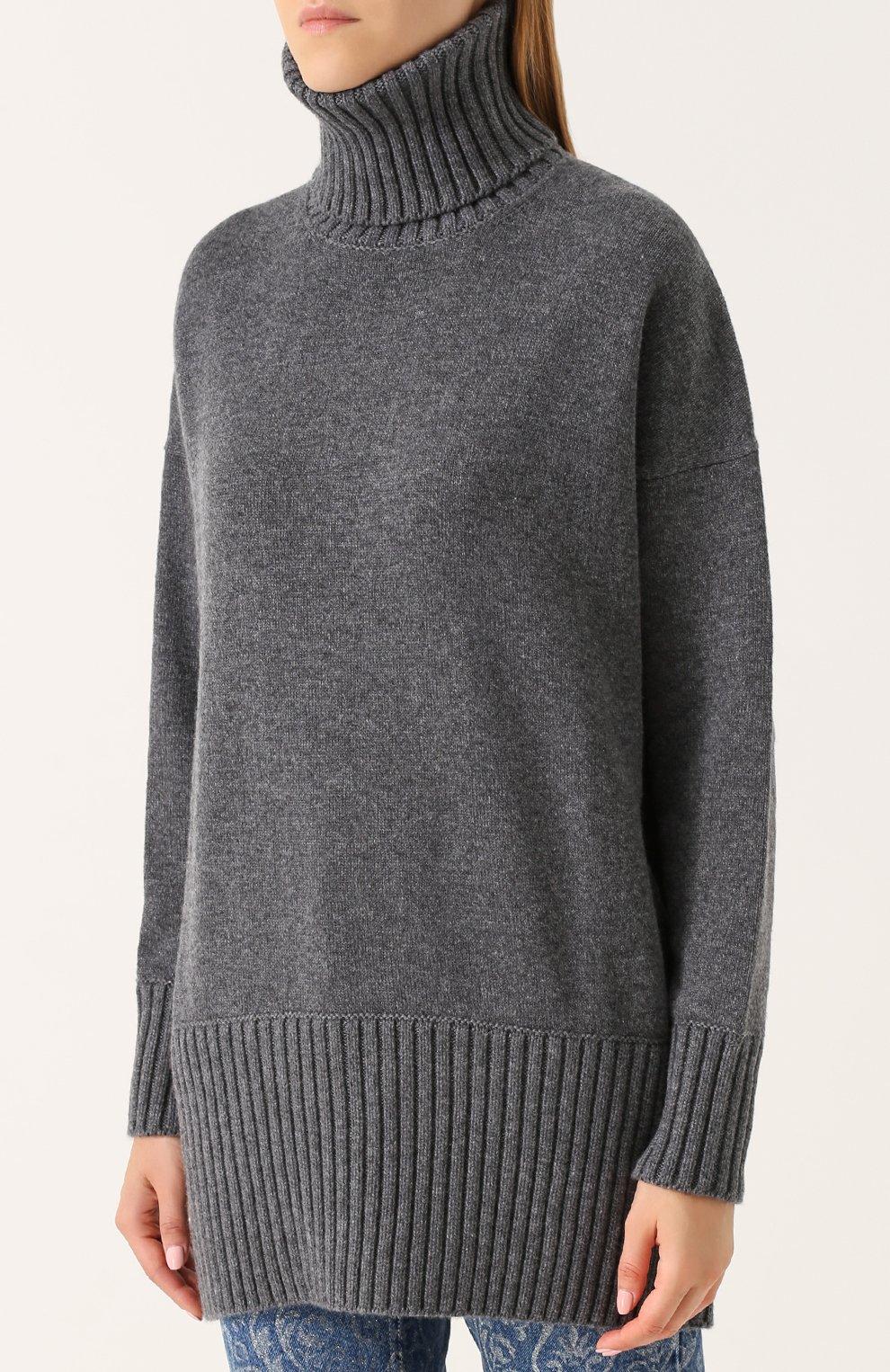 Удлиненный кашемировый свитер Dolce & Gabbana темно-серый | Фото №3