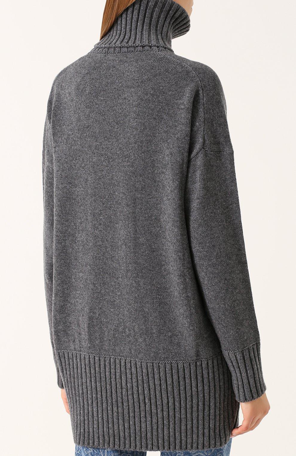 Удлиненный кашемировый свитер Dolce & Gabbana темно-серый | Фото №4