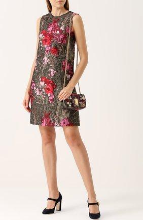 Жаккардовое мини-платье без рукавов Dolce & Gabbana розовое | Фото №2