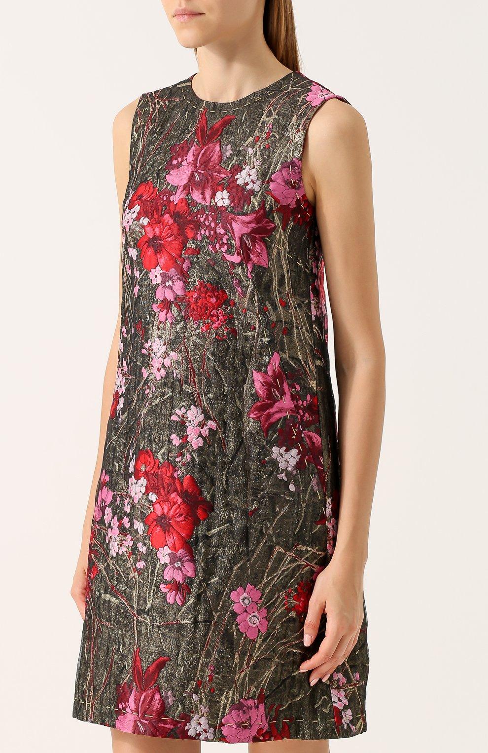 Жаккардовое мини-платье без рукавов Dolce & Gabbana розовое | Фото №3