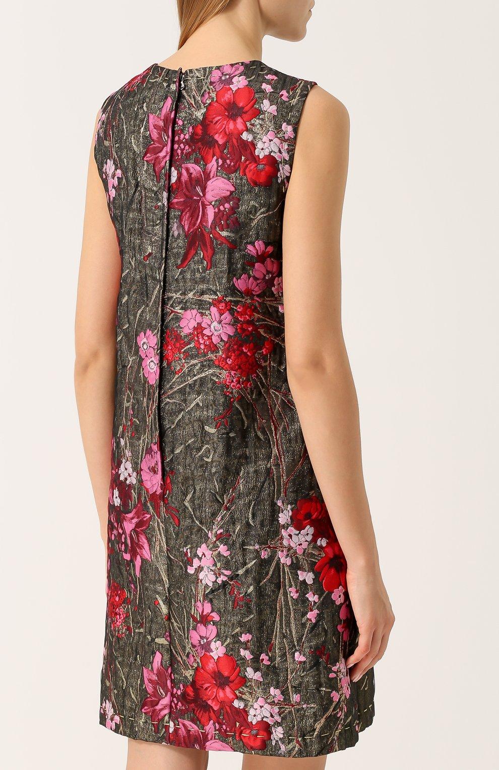 Жаккардовое мини-платье без рукавов Dolce & Gabbana розовое | Фото №4