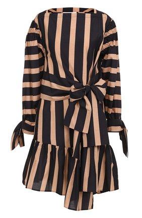 Платье в полоску из смеси хлопка и шелка 3.1 Phillip Lim черное | Фото №1