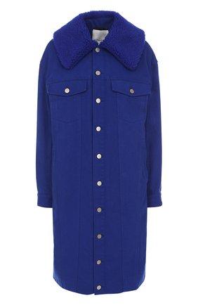 Джинсовое пальто свободного кроя с отложным воротником | Фото №1