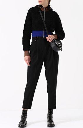 Укороченный шерстяной кардиган на молнии 3.1 Phillip Lim черный | Фото №1