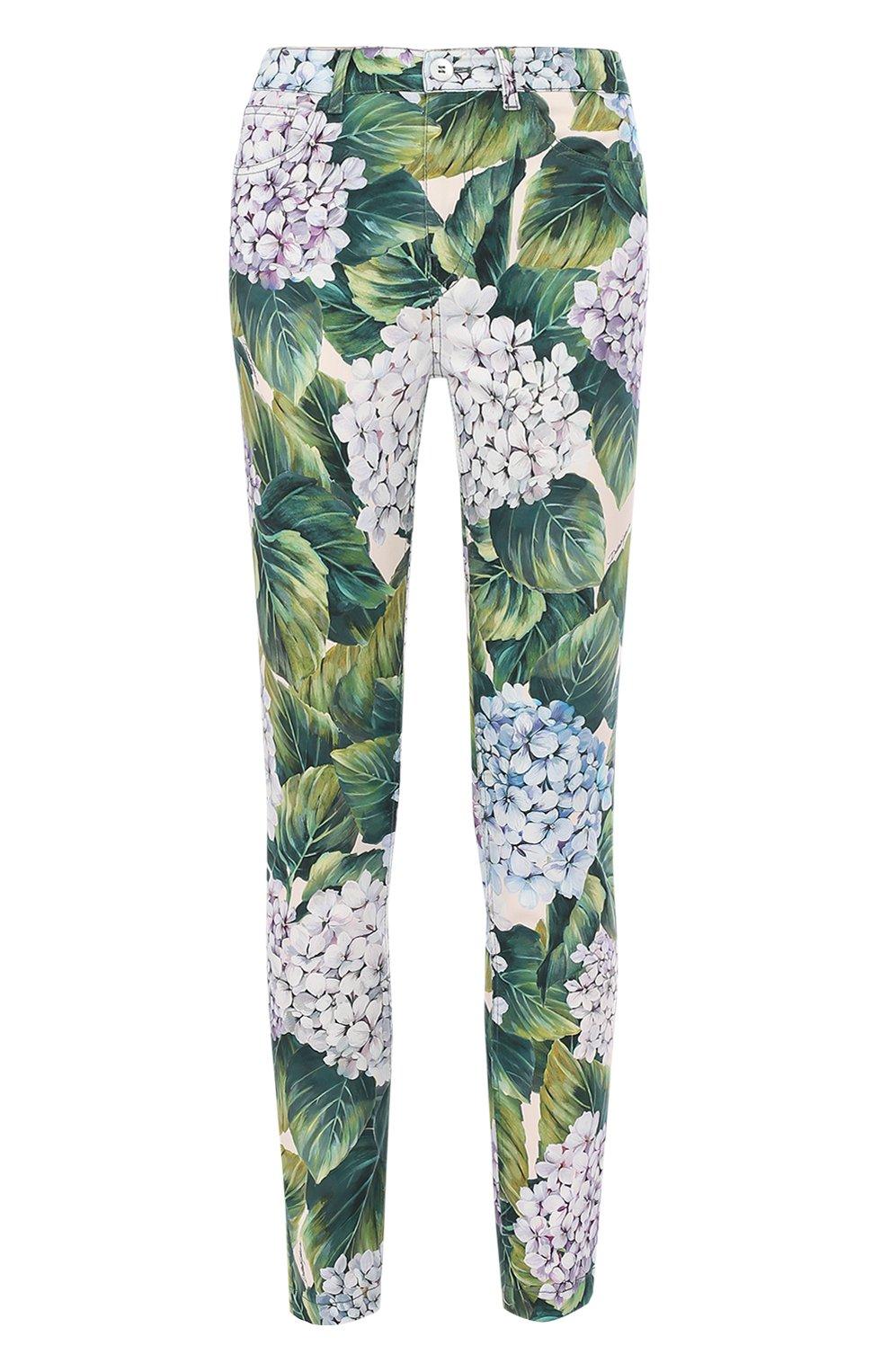 Укороченные хлопковые брюки с принтом   Фото №1