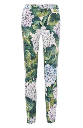 Укороченные хлопковые брюки с принтом Dolce & Gabbana зеленые   Фото №1