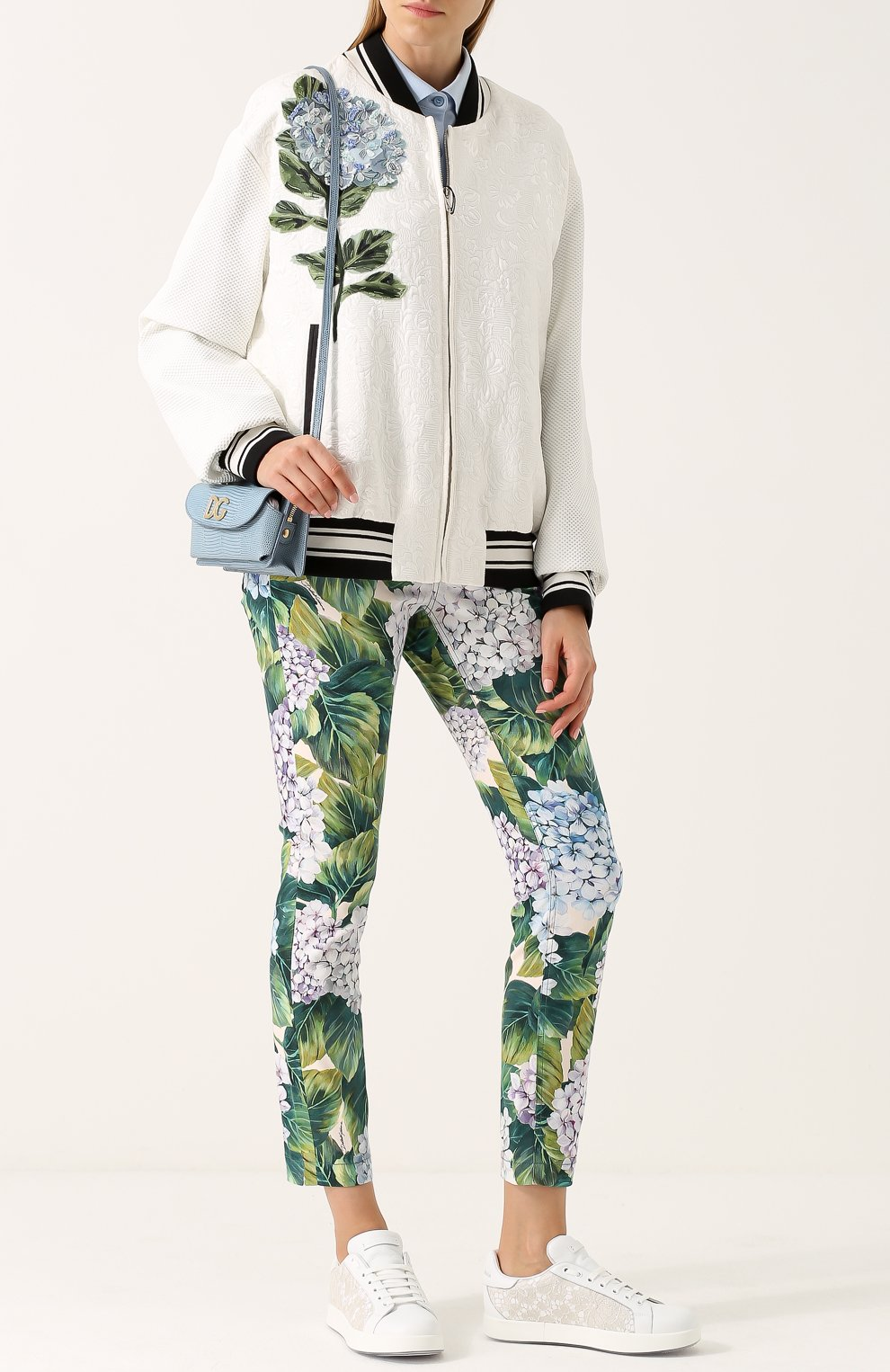 Укороченные хлопковые брюки с принтом Dolce & Gabbana зеленые   Фото №2