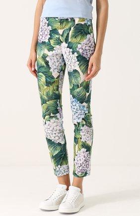 Укороченные хлопковые брюки с принтом Dolce & Gabbana зеленые   Фото №3