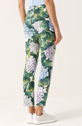 Укороченные хлопковые брюки с принтом Dolce & Gabbana зеленые   Фото №4