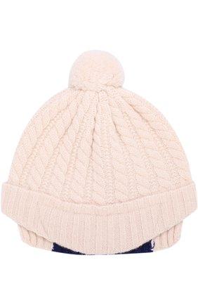 Детского шерстяная шапка фактурной вязки с помпоном GUCCI белого цвета, арт. 473583/4K206   Фото 1 (Материал: Шерсть; Статус проверки: Проверена категория)