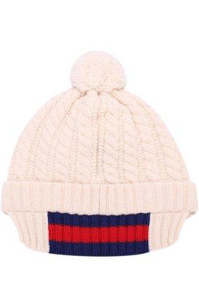 Детского шерстяная шапка фактурной вязки с помпоном GUCCI белого цвета, арт. 473583/4K206   Фото 2 (Материал: Шерсть; Статус проверки: Проверена категория)