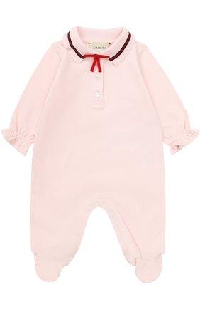 Пижама из эластичного хлопка с контрастной отделкой и бантом | Фото №1