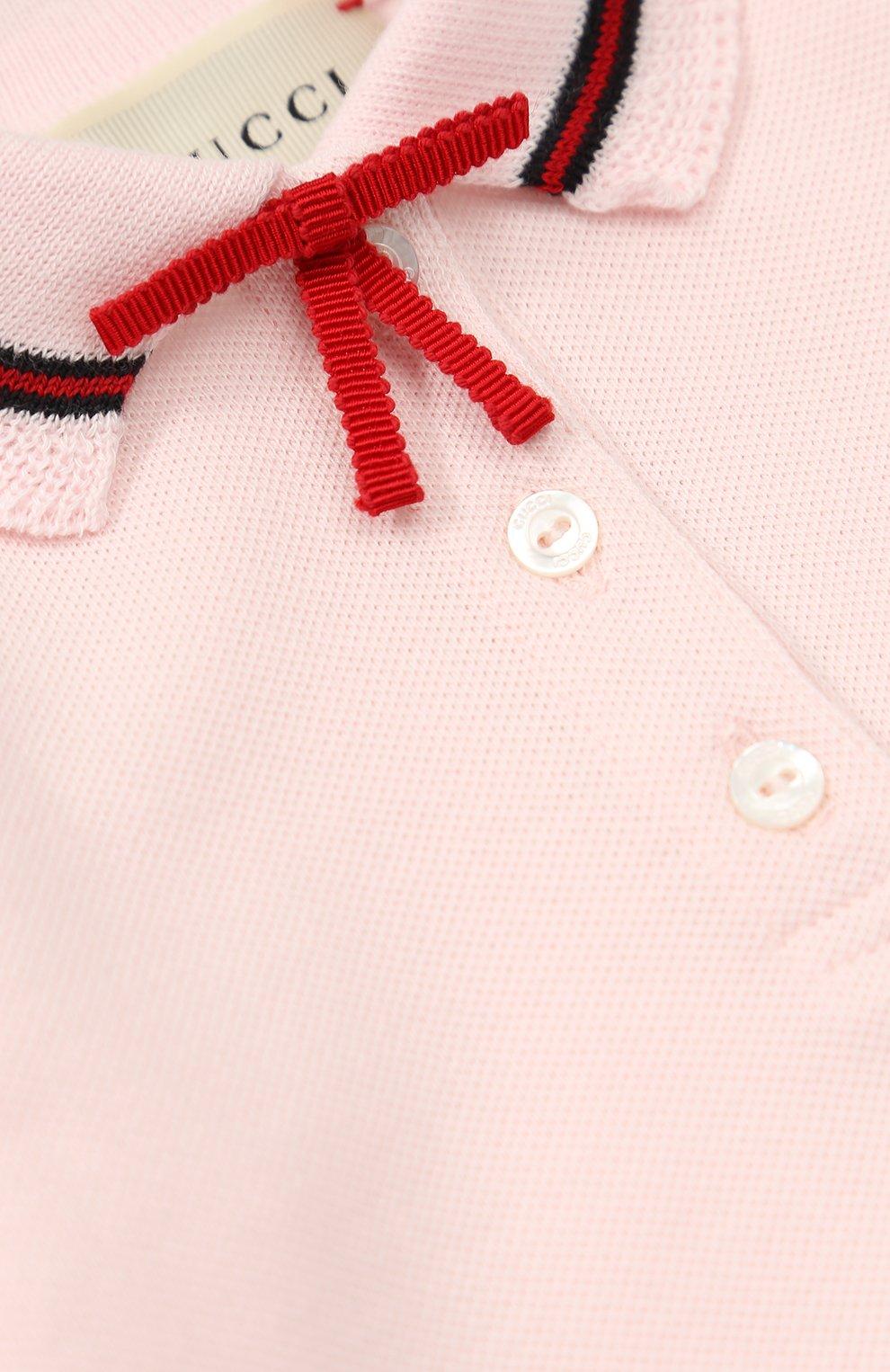 Пижама из эластичного хлопка с контрастной отделкой и бантом | Фото №3