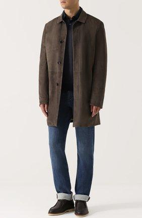 Мужской однобортное замшевое пальто с отложным воротником LORO PIANA темно-бежевого цвета, арт. FAG4530   Фото 2