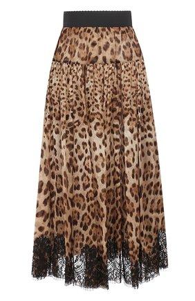 Шелковая юбка-миди с леопардовым принтом | Фото №1